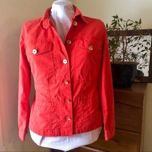 CAbi Taylor Ruffle Back Coral Jacket (727) size M